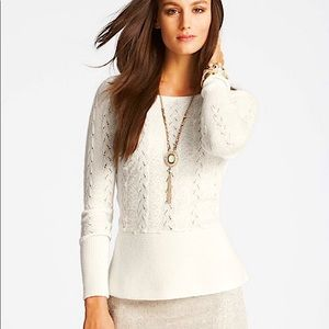 Ann Taylor textured peplum sweater w/ lace front